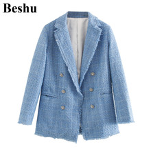 za 2020 fashion blazer women blue twill soft tweed buttons cardigan elegant chic