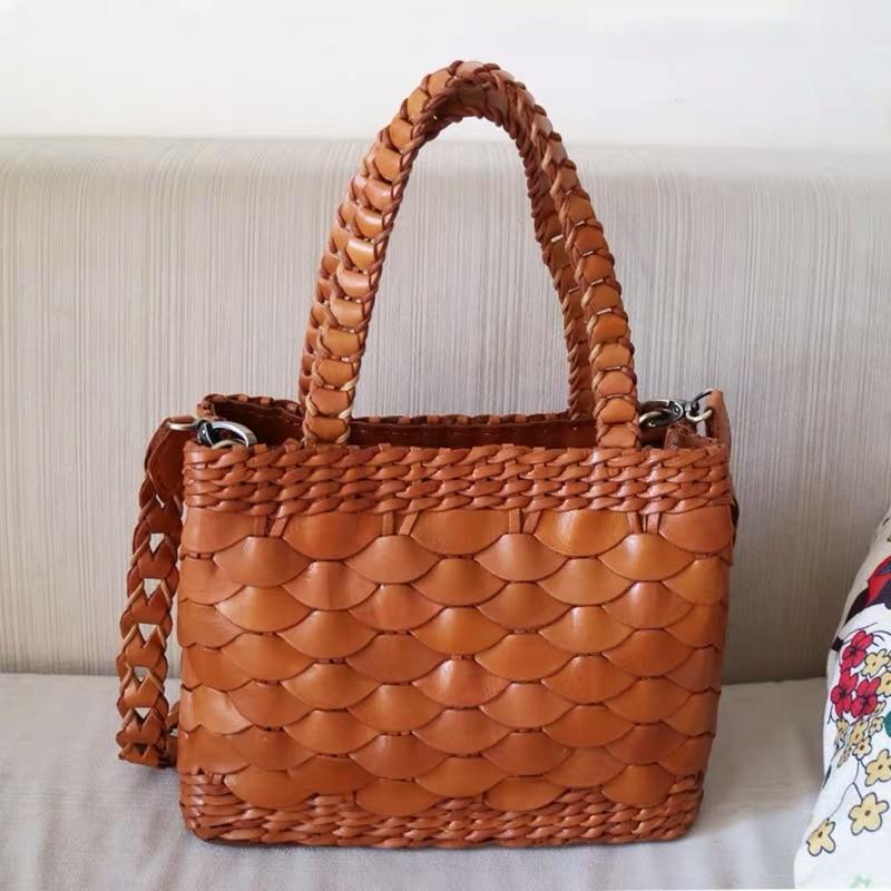Ручная работа, настоящая коровья кожа, Женская Маленькая вязаная сумка, натуральная кожа, женская сумка с верхней ручкой, женская сумка через плечо
