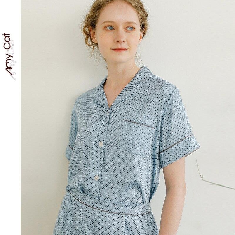 2020 Summer Thin Satin Blue Dots Short Sleeve Trousers Pajamas Women 2 Piece Sleepwear Loungewear Pijama Mujer Home Sleepwear