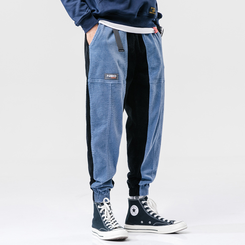 Winter Corduroy Bib Overall Men's Popular Brand Loose Hip Hop Ankle Banded Pants Men's Joint Mixed Colors Harem Casual Pants Cor