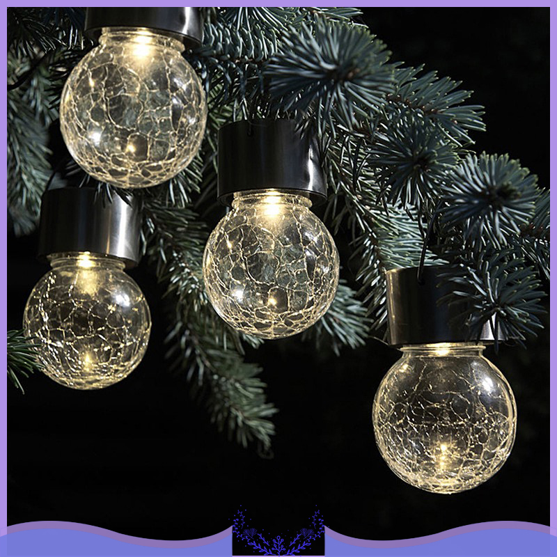 Multi-Color Solar Lights Changing Cracked Glass Hanging Ball Lights Lamps Waterproof Outdoor Solar Lanterns Dropshipping