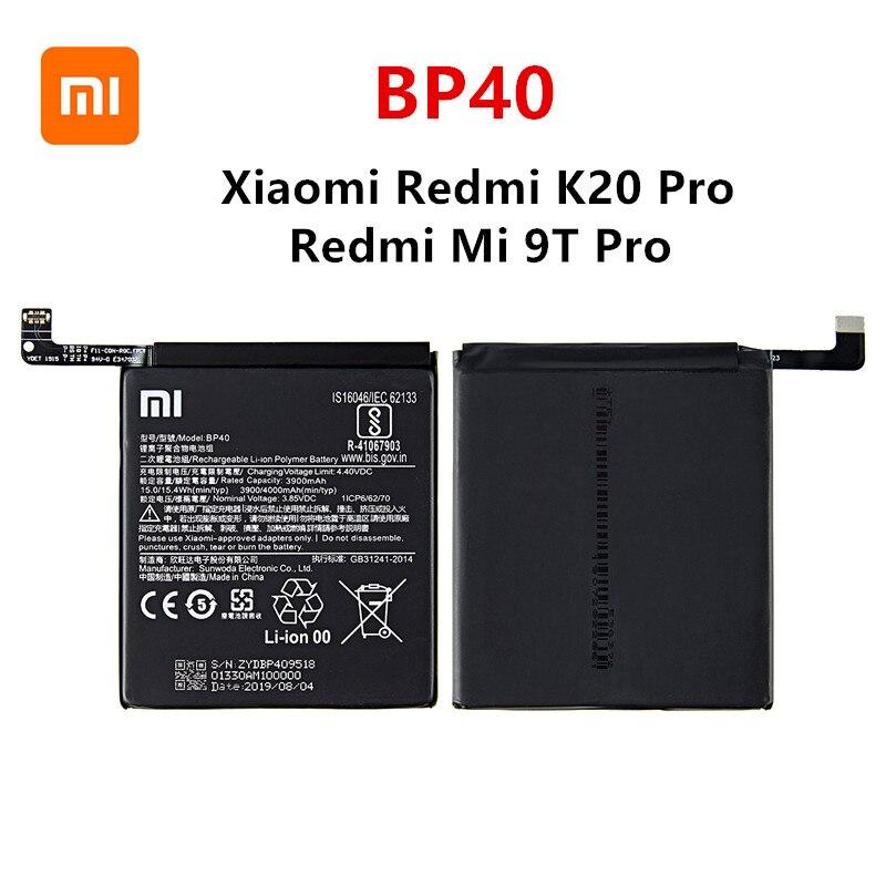 Xiao Mi 100% Orginal BP40 4000mAh Battery For Xiaomi Redmi K20 Pro / Mi 9T Pro BP40 High Quality Phone Replacement Batteries