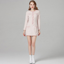 High-end Luxury Tweed Pink Party Women Dress Vetement Femme 2020 Autumn Long Sle