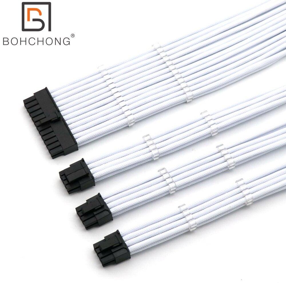Basic Extension Cable Kit 4mm PET 1pcs 24Pin ATX 1pcs CPU 8Pin 4+4Pin 2pcs GPU 8Pin 6+2Pin PCI-E Power Extension Cable