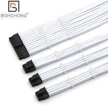 Kit de Cable de extensión básico 4mm PET 1 Uds. ATX de 24 pines 1 Uds. CPU 8 pines 4 + 4 pines 2 uds. GPU 8 pines 6 + 2 pines PCI E Cable de extensión de alimentaciónConectores y cables de ordenador