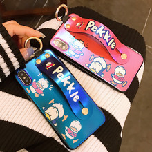 Creative Laser Blu-ray Phone Case for iPhone X XS XR XSMax 8 7 6 6S PluS Cartoon Wristband Holder Drop Protection Back Cover