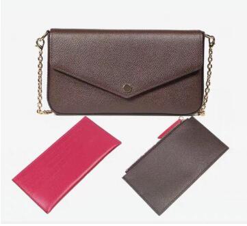Новинка 2019, модная сумка на цепочке, набор из трех предметов, аксессуары, высокое качество, натуральная кожа, сумка мессенджер, Сумка с клапаном в коробке, бесплатная доставка