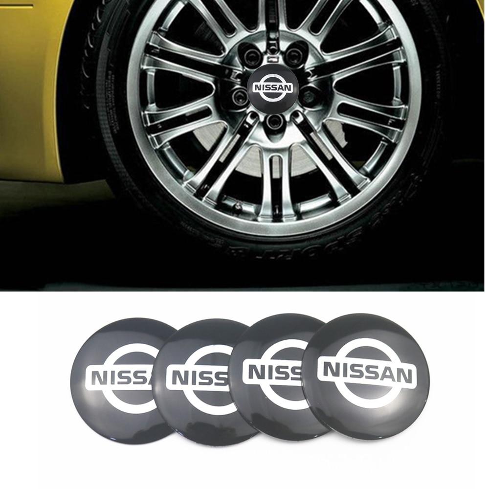 Car-styling 4pcs 56mm Car Tire Wheel Center Hub Caps Decorative Sticker For Nissan Nismo X-trail Almera Qashqai Tiida Teana