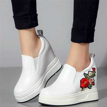 Punk Trainers Women Genuine Leather Wedges High Heel Platform Party Pumps Shoes Female Round Toe Fashion Sneakers Casual Shoes