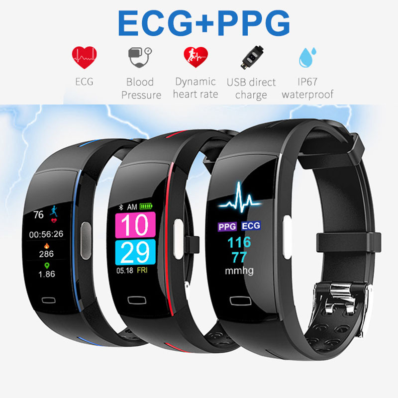 Color Screen <font><b>P3</b></font> <font><b>Smart</b></font> <font><b>Band</b></font> Support ECG+PPG Blood Pressure Heart rate Monitoring IP67 waterpoof Pedometer Sports Fitness Bracelet image
