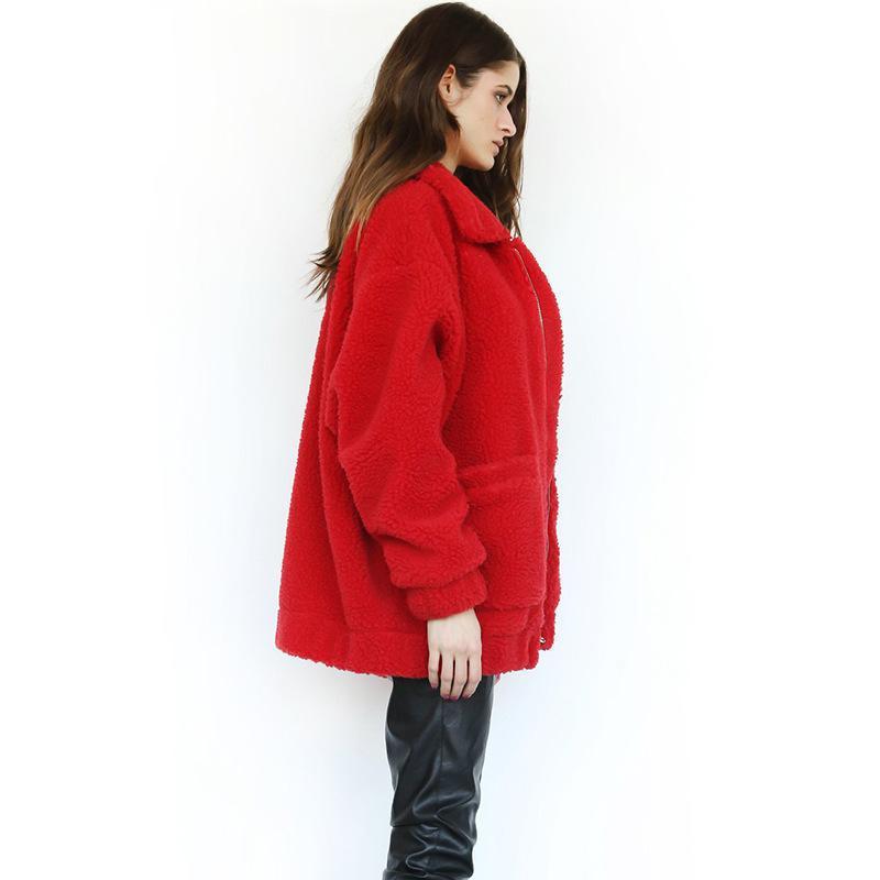 Autumn Winter Teddy Coat Women 2019 Streetwear Fleece Fur Thick Warm Jacket with Pocket Casual Zipper Outwear Ladies Clothes in Jackets from Women 39 s Clothing