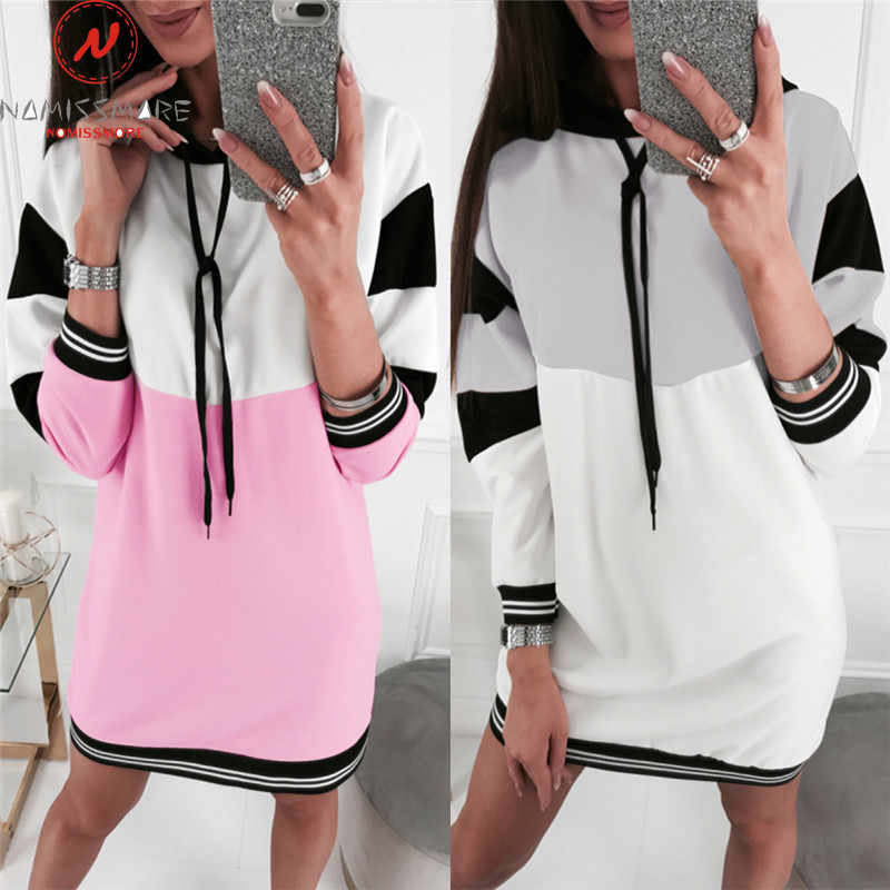 Women Casual Long Hoodies for Streetwear Color Matching Patchwork Design Hooded Decor O-Neck Long Sleeve Autumn Winter Warm Top