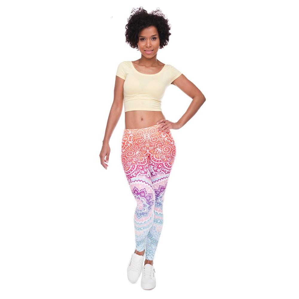 Brands Women Fashion Legging Aztec Round Ombre Printing leggins Slim High Waist  Leggings Woman Pants 48