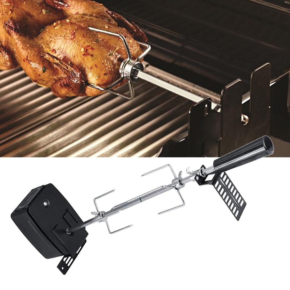 Broche tige outils rôtissoire BBQ moteur ensemble fourchettes à viande facile installer ménage électrique pique-nique cuisson automatique acier inoxydable