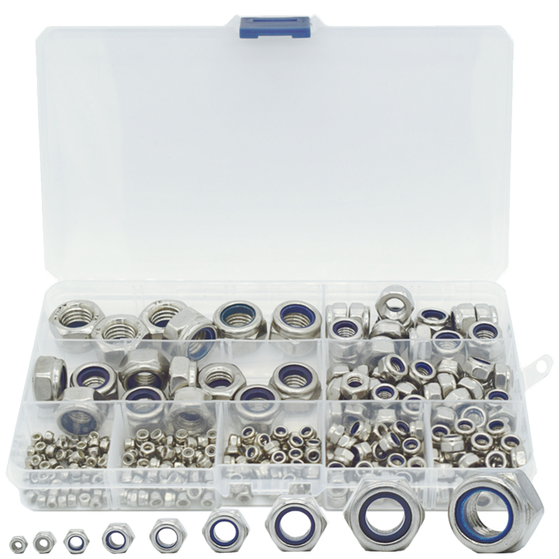 321 Pcs/box Nylon Lock Nut 304 Stainless Steel M2 M2.5 M3 M4 M5 M6 M8 M10 M12 Hex Hexagon Self Locking Nut Assortment Kit