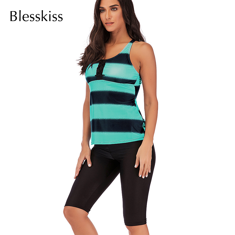 Blesskiss Plus Size Tankini Swimsuit Women 2019 Summer Large 2 Two Piece Vintage Swimwear Bathing Suit Ladies Beach Surfing Suit