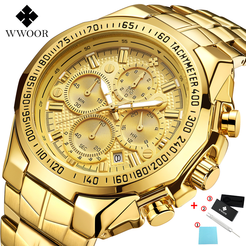 WWOOR Gold Watches Stainless-Steel Sports Luxury Brand Men's Relogio Strap Male title=