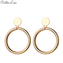 CARTER LISA 2020 Fashion Glossy Gold Sliver Big Hollow Circle Drop Earrings For Women Girl Simple Long Dangle Jewelry
