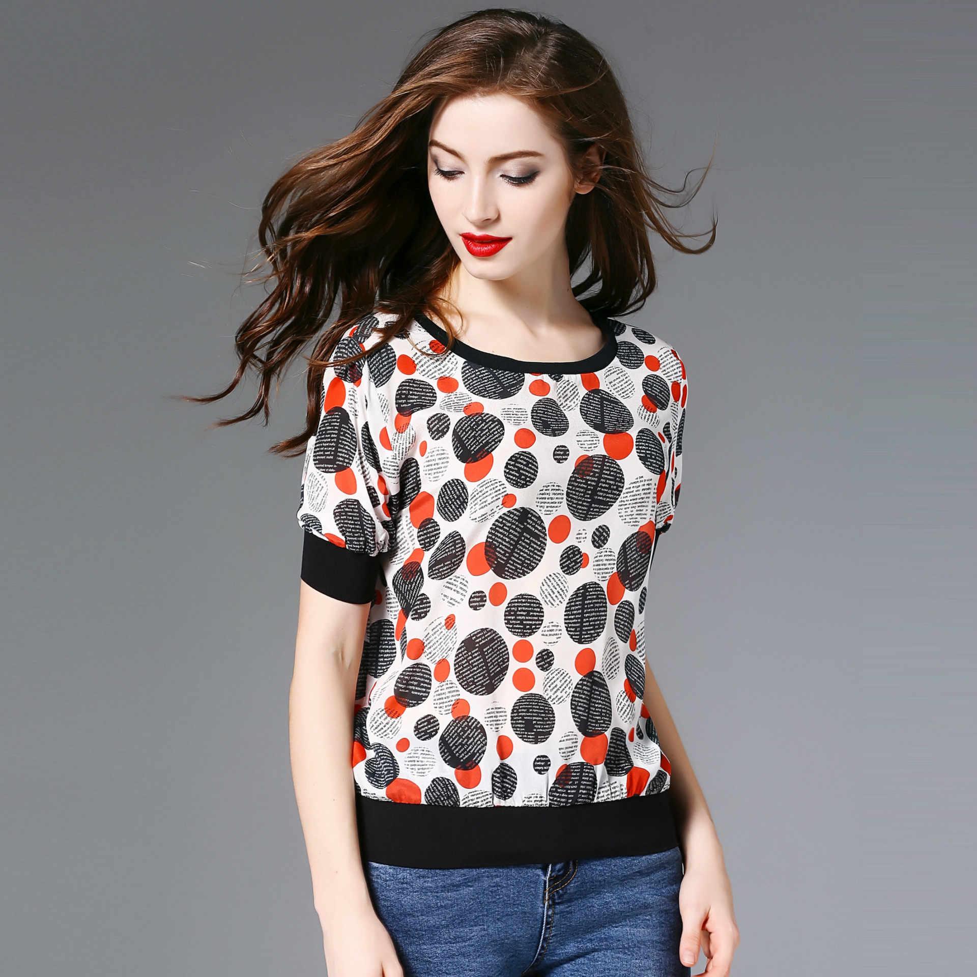 2018 Elegant Commuting WOMEN'S Dress Ozhouzhan Women's Floral Dotted Short Sleeve Real Silk T-shirt Upper-wear for Women