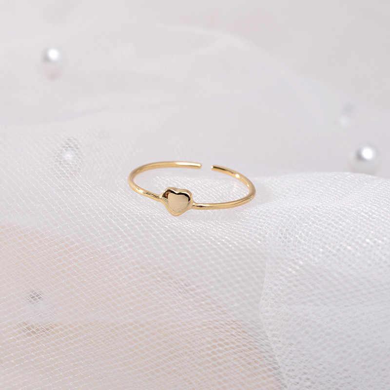 Đơn giản Nữ Trái Tim Nhỏ Có Thể Điều Chỉnh Vòng Thời Trang Nữ Bạc 925 Tình Yêu Nhẫn Vàng Dễ Thương Màu LỜI HỨA Cưới Cho Nữ, Nhẫn Nữ