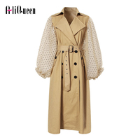 Autumn Women Patchwork Mesh Windbreaker Lapel Polka Dot Lantern Sleeve Trench Coat Khaki Lace Up Double Breasted Long Overcoat