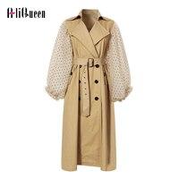 Autumn Women Patchwork Mesh Windbreaker Lapel Polka Dot Lantern Sleeve Trench Coat Khaki Lace Up Double Breasted Long Overcoat