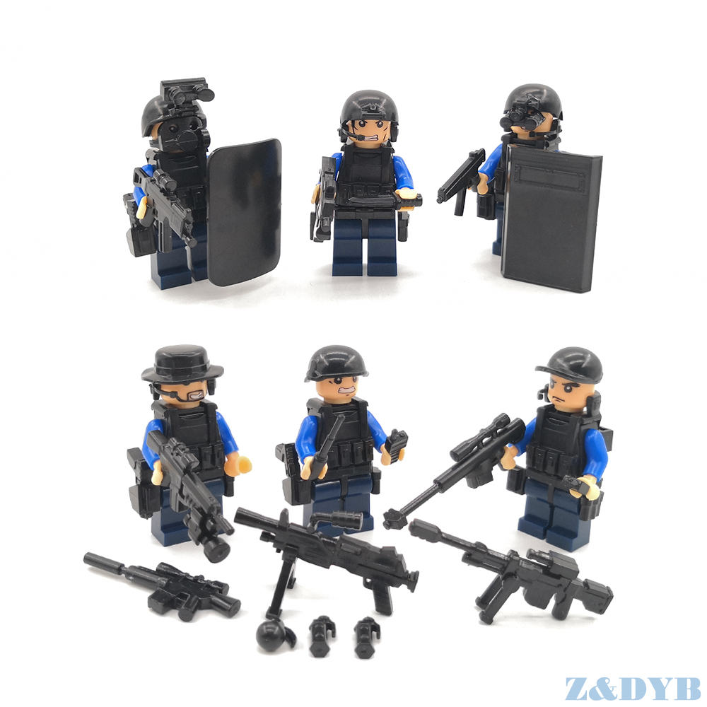 Image 2 - 625PCS/Sets SWAT Team City Police Military Figures Soldier Army Gun Weapon Modern War Build Block Brick legoed For Children Toy-in Blocks from Toys & Hobbies