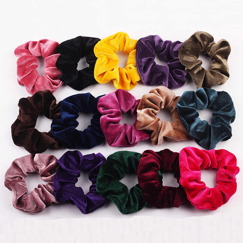 Hot Sale Soft Velvet Scrunchie Elastic Hair Bands Hair Scrunchies Bright Color Hairbands Ponytail Holder Luxury Hair Accessories