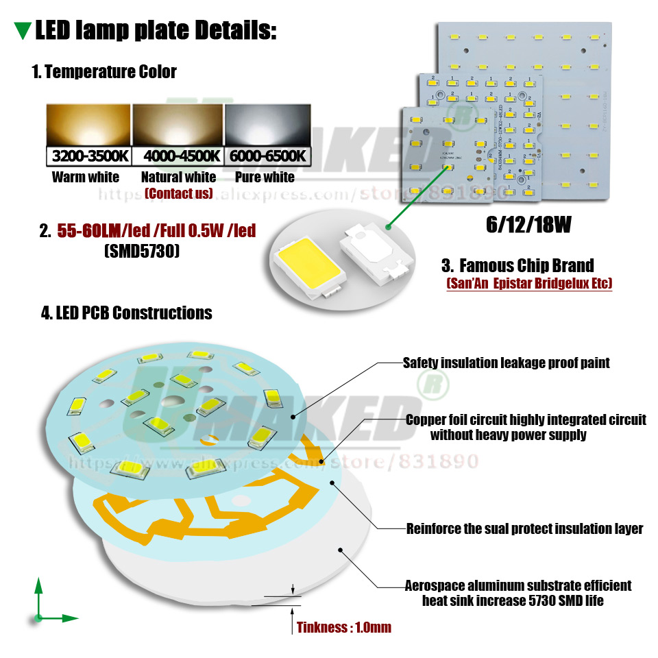 Image 2 - 1/ 5sets LED PCB+Driver Kits 6W 12W 18W LED Downlight Aluminum light Heatsink SMD5730 110lm/w Square Light Source For Panel lampLED Downlights   -