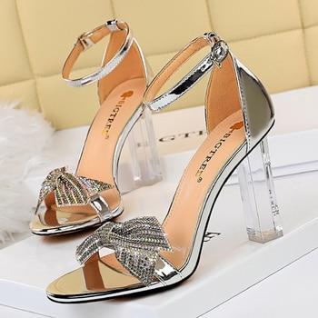Rhinestone Open Toe  Block Heel Sandals 1