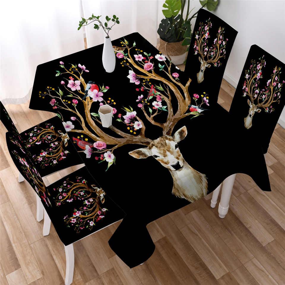침구 아웃 도어 플로랄 엘크 식탁보 흑백 무스 방수 테이블 천 동물 순록 사슴 테이블 커버 워셔블