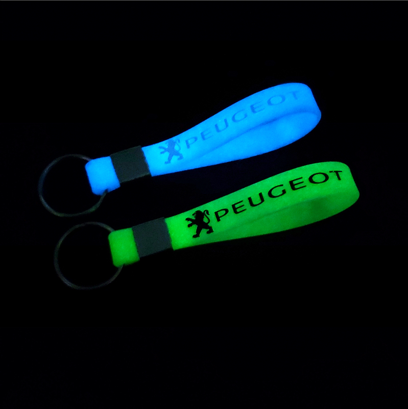 Car Sticker Luminous Key Holder Gift Key Chains KeyRings For Peugeot 206 207 307 3008 2008 408 208 Car-Styling Badge Accessories