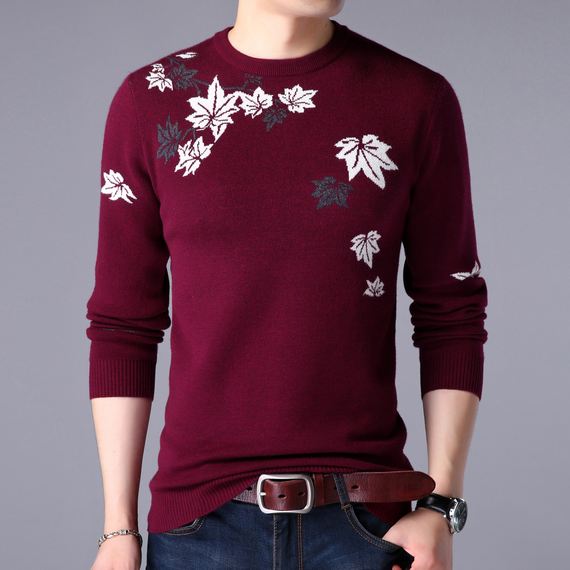 Mens Sweater Autumn Floral Jumper Male Casual Long Sleeve Wool Sweater Pullovers