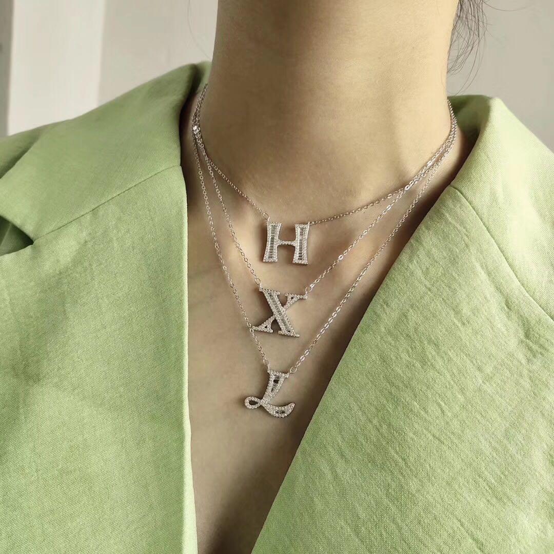 26 lettre collier 925 en argent Sterling collier personnalisé Couple collier bijoux Zircon