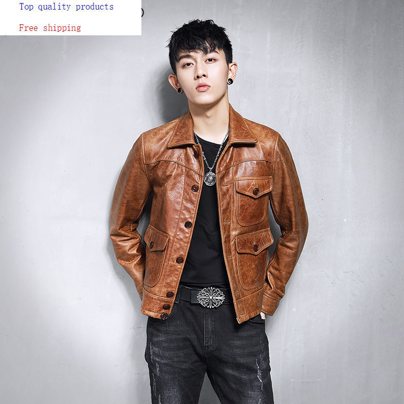 Genuine Leather Jacket Men Vintage Real Cow Leather Jacket Short Spring Autumn Luxury Coat Men Motorcycle Jackets 19-09 KJ3218