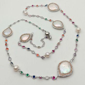 Collar largo de cadena de 36 pulgadas de perlas blancas de Color mezclado Cz