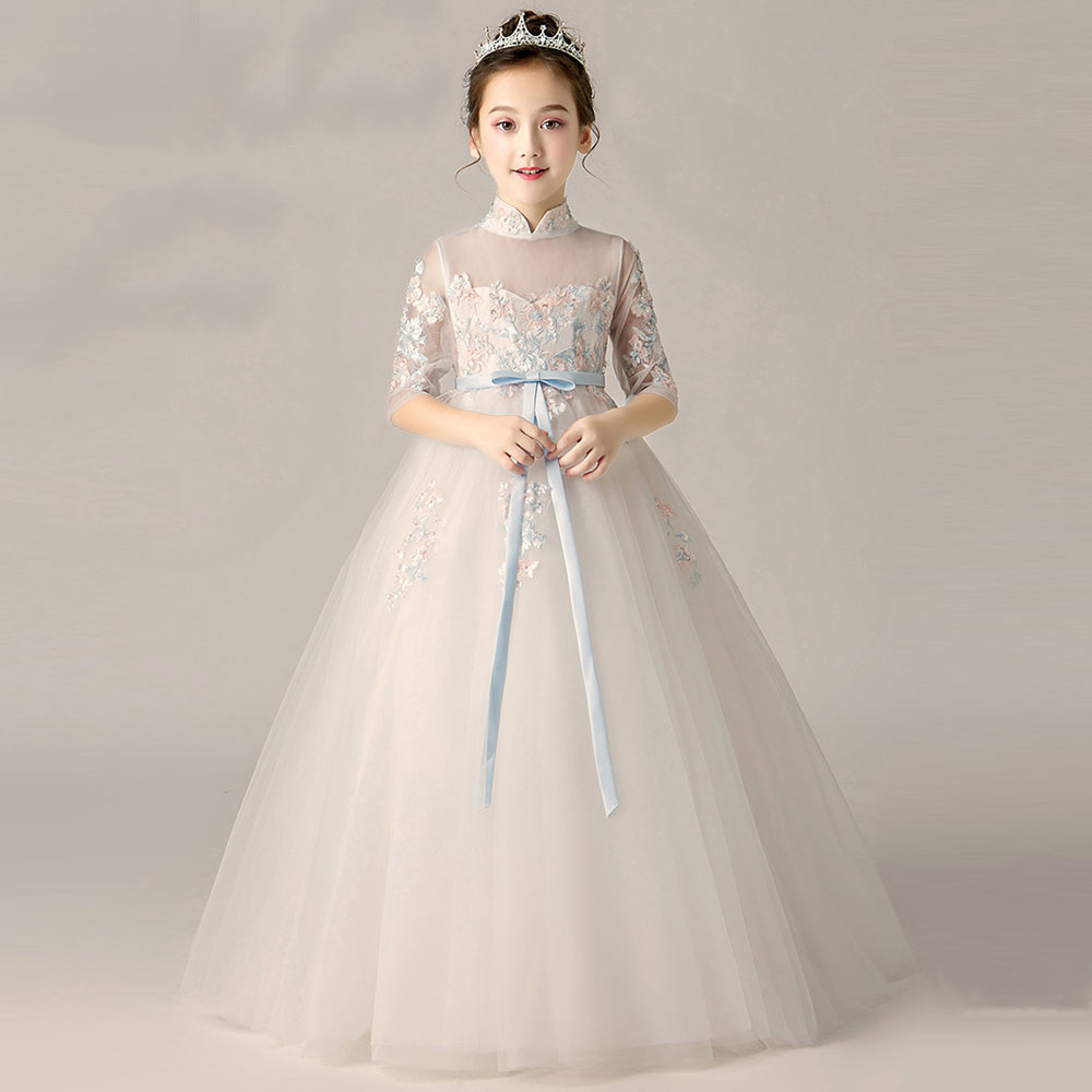 Flower Girl Lace Dress Long Dress 2019 New Girl Wedding Party Exchange Dress Ball Beauty Sexy Shoulder Dress