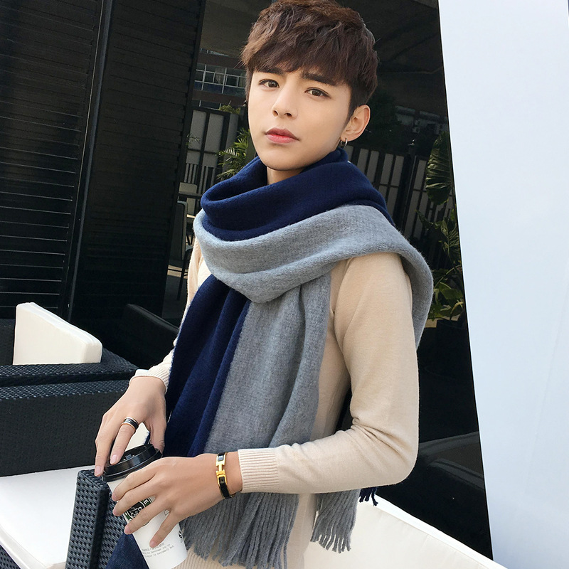Autumn and Winter Male Scarf Couple Wild Korean Version of Simple Knitted Wool Student Men's British Bib Men