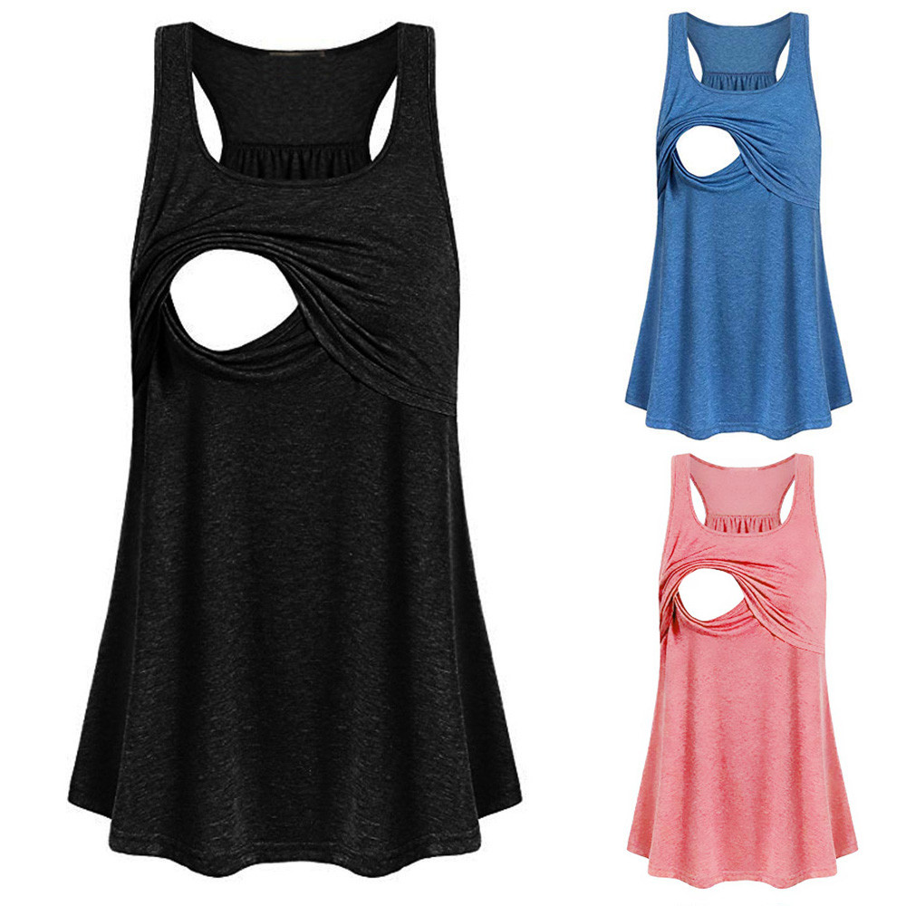 TELOTUNY Women Maternity Loose Comfy Pull-up Nursing Tank tops Vest Female Breastfeeding Maternity Clothing Spring summer shirts