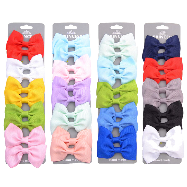 10 Pcs/set Grosgrain Ribbon Hair Bows With Clip For Cute Baby Girls Colorful Hair Clips Hairpins Barrettes Kids Hair Accessories 1