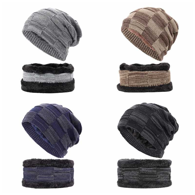 2 adet kış bere şapka eşarp seti sıcak örgü şapka kalın polar astarlı kış kafatası kap ve eşarp erkekler için kadın