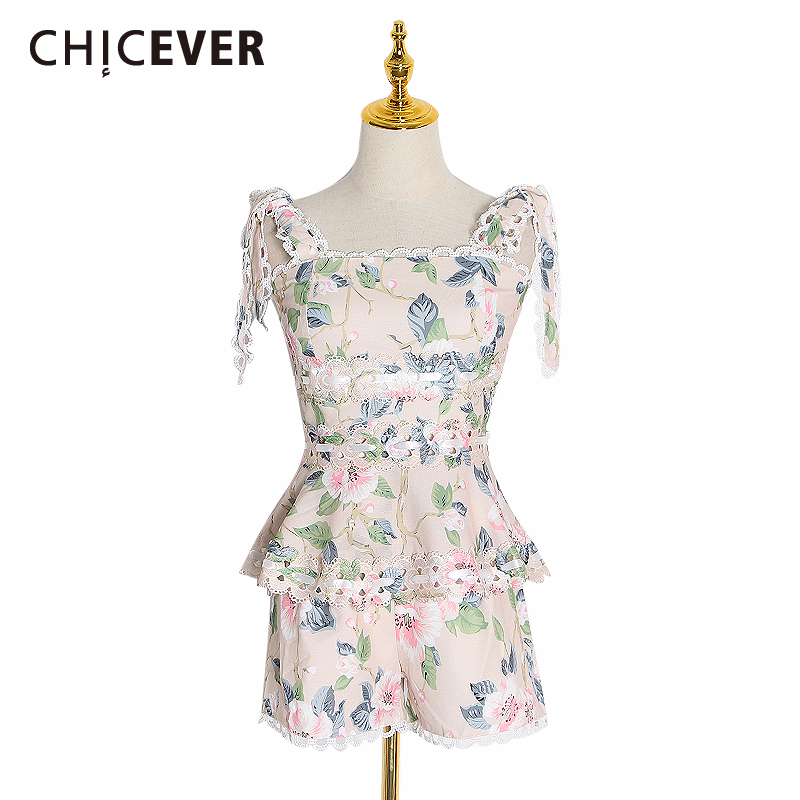 CHICEVER Hollow Lace Two Piece Set Female Square Collar Sleeveless Vest High Waist Short 2020 Spring Women's Suits Fashion