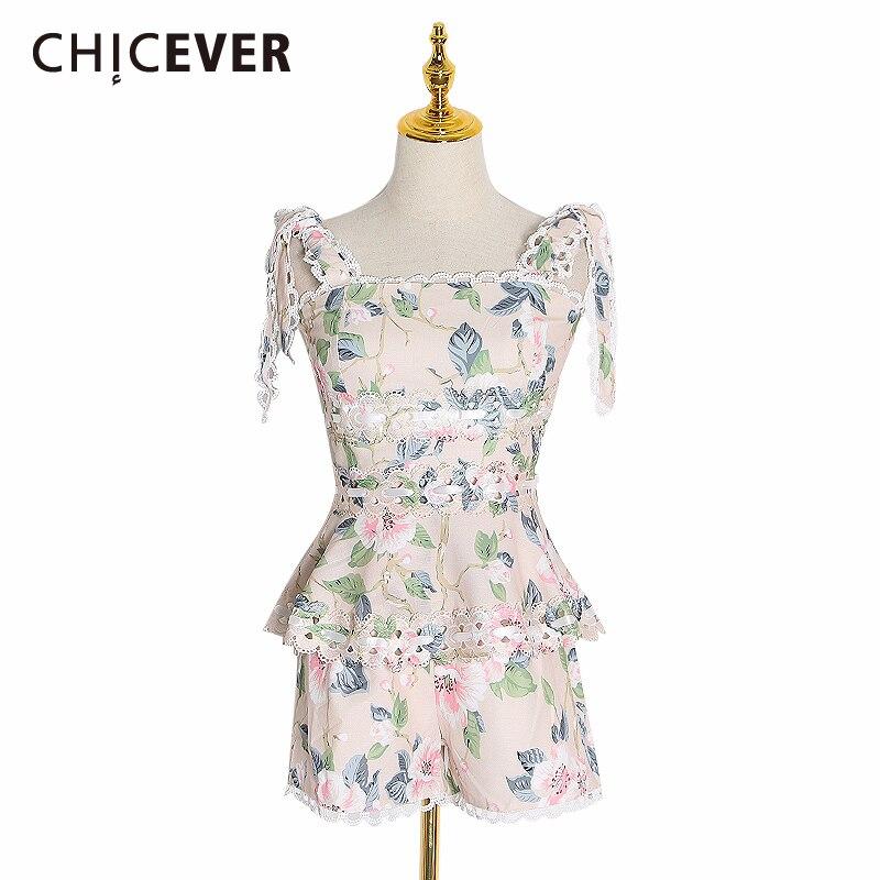 CHICEVER, conjunto de dos piezas de encaje hueco, chaleco sin mangas de cuello cuadrado para mujer, Chaleco corto de cintura alta, trajes de Moda de Primavera 2020 para mujer