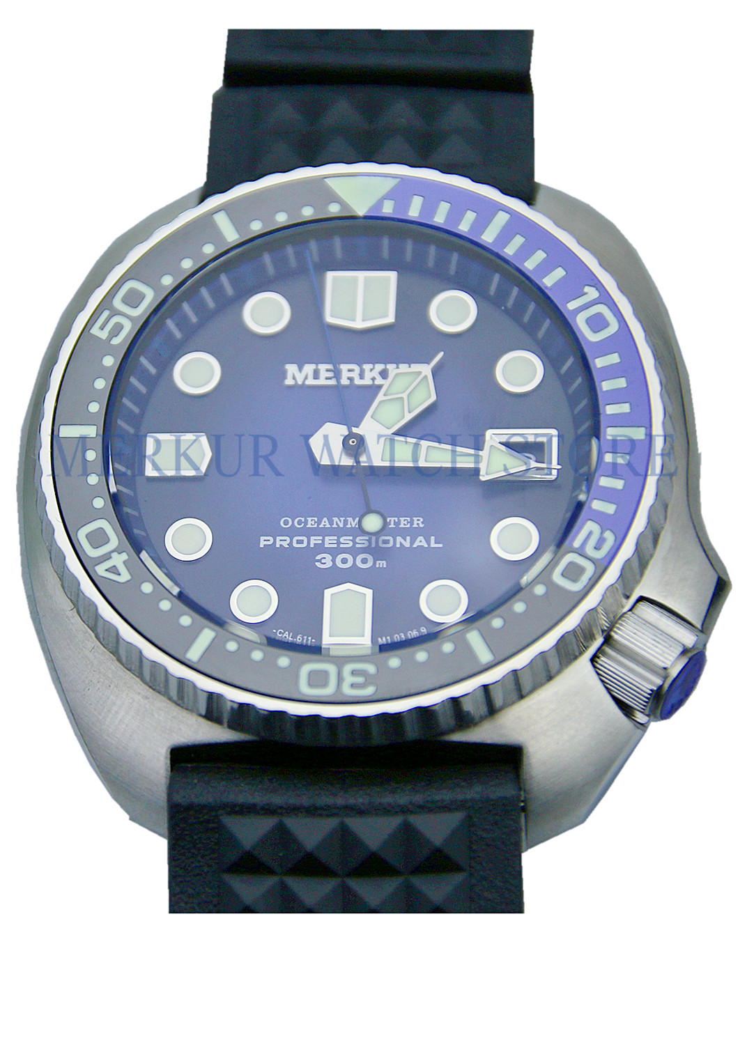 Merkur Mens Vintage 6105 TURTLE Automatic Wrist Watch Pro Divers Sapphire Ceramic 300M