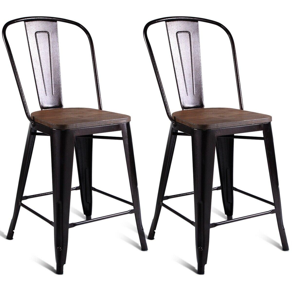 Costway 2 шт металлическая деревянная столешница стул кухня обеденный барные стулья
