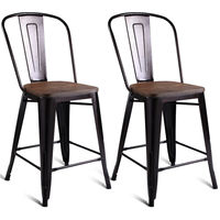 Costway 2 PC Metal Wood Counter Stool Kitchen Dining Bar Chairs