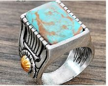 Retro Engraved Sunflower Faux Inlaid Ring Women Banquet Jewelry Gift gothic  stainless steel rings for women faux turquoise cow engraved jewelry set