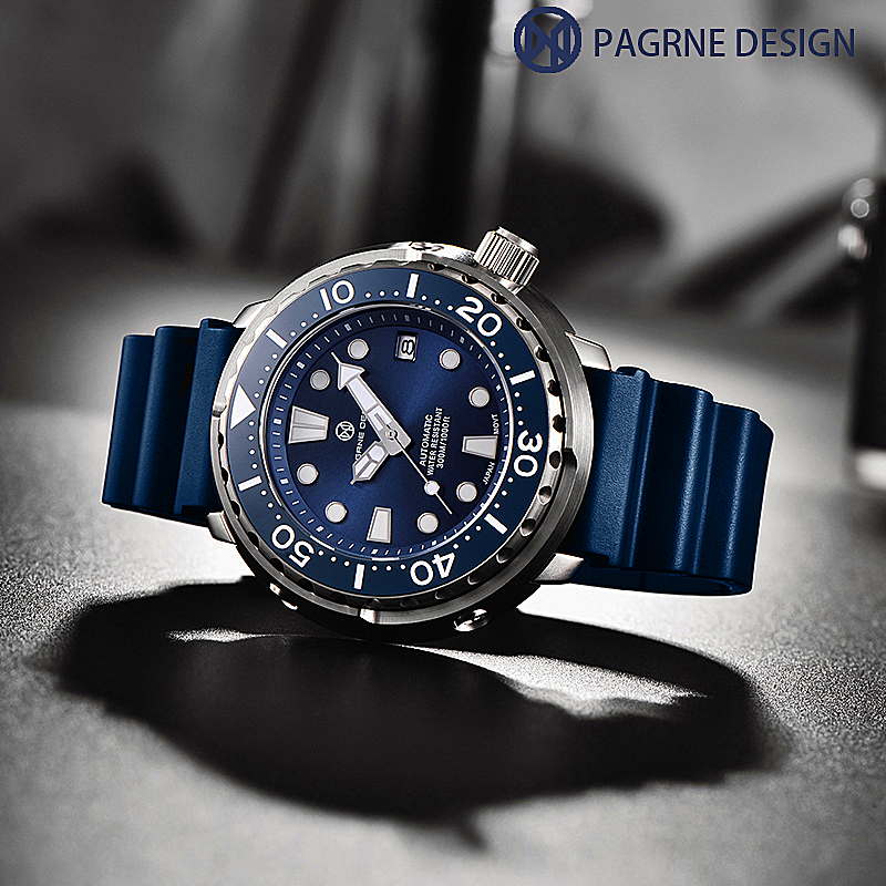 PAGRNE DESIGN Watch For Men Tuna diver 300M Waterproof NH35 Mechanical Watch Sapphire Crystal Automatic Wrist watch Reloj Hombre 3