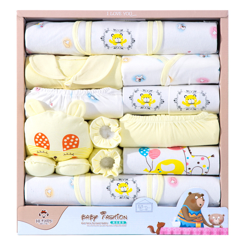 Newborns Gift Box 18 Pieces Spring And Autumn Infant's Outfit Baby Pure Cotton Underwear Gift Box Gift 0-6 Month
