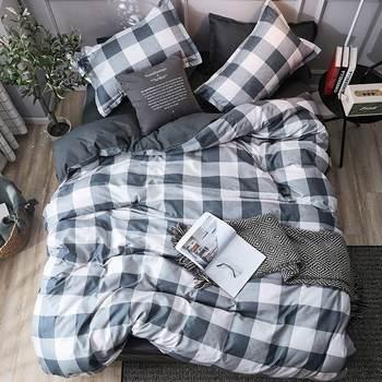 Simple Bedding Set Blue Checkered 25